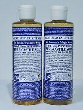 DR. BRONNER'S MAGIC PEPPERMINT PURE CASTILE ORGANIC OIL SOAP 8OZ *2 LOT*