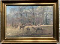 ::AXEL HANSEN *1886 RUDEL DAMWILD LICHTUNG FRÜHLING ÖLGEMÄLDE RAHMEN ANTIK