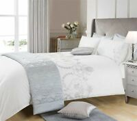 SILVER GREY EMBROIDERED FLORAL KING SIZE DUVET COVER