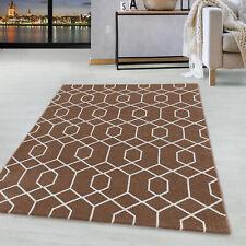 Kurzflor Cable Design Teppich Wohnzimmerteppich Zopf Muster Linien Kupfer