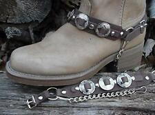 "WESTERN BOOTS BOOT CHAINS BROWN TOPGRAIN COWHIDE LEATHER W 3 1"" NICKEL CONCHOS"