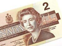 1986 Canada 2 Dollars BGW Uncirculated Canadian Thiessen Crow Banknote M932