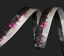 "5 Yards Black White Stripe Pink Flowers Young Love Ribbon 5/8""W"