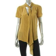 Max Mara Weekend Yellow Pois Silk Polka Dot Blouse Size M NWT $305