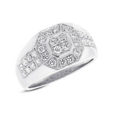 Mans Right Hand Cocktail Octagon Ring Mens 1.18Ct 14K White Gold Natural Diamond