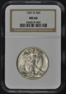 1947-D Walking Liberty Half Dollar 50C NGC MS66