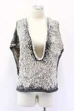 NWT$1745 Brunello Cucinelli Women's Chunky Cableknit Sequin UNeck Sweater Vest M