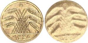 Fehlprägung 5 Pfennig einseitig geprägt 1924A Deutschland / Weimar vz-prfr.