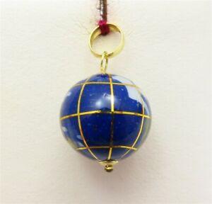 14K Yellow Gold Multi-Gemstone Inlaid GLOBE Pendant