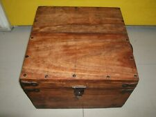 TEAK OR HARD WOOD STUDDED AND METAL MOUNTED WOODEN BOX WITH TWO SIDE HANDEL
