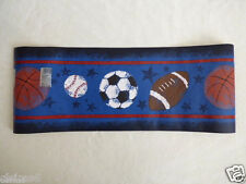 BOYS Bedroom Sports Wallpaper Border Blue Baseball Football Soccer Basketball