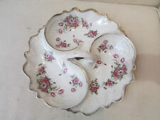 ancien serviteur en porcelaine 3 compartiments decor floral epoque 1900