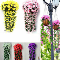 Hanging Wall Artificial Silk Violet Plant Basket Outdoor US Orchid Flower Rattan