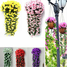 Hanging Wall Artificial Silk Violet US Orchid Flower Rattan Plant Basket Outdoor