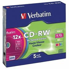 Verbatim CD rewriteable 5 pack colored 700MB