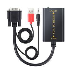 Adaptador VGA a HDMI 1080p Señal Convertidor Cable Soporte Audio HDTV Monitor
