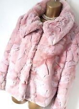 TUZZI Designer Pink Faux Fur Coat Jacket UK 14