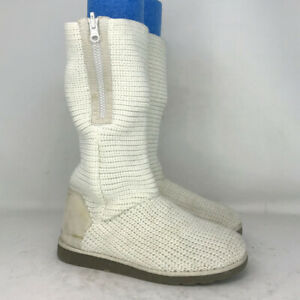 Kohl's Womens Sodenver White Textile Winter Boots Mid Calf Zipper Flat Size 8 M
