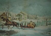 AMERICAN FARM SCENES No. 4 Winter 1853 View Horse & Sled Currier & Ives Print