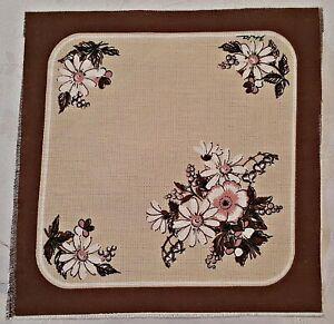 VINTAGE AUTHENTIC FLORAL ART FIELD FLOWER BROWN BEIGE COTTON BLEND COASTER DOILY