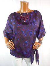 MICHAEL KORS Womens Top L Peacock Print Shirt Side Tie Blouse Purple Red Black