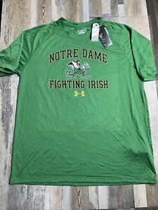 NEW Anti-Odor Under Armour Notre Dame Irish Mens Performance T-Shirt - 2XL
