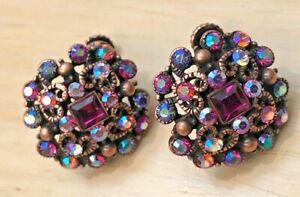 Joan Rivers Glamorous Stone Crystal Earrings - Pink - Clip
