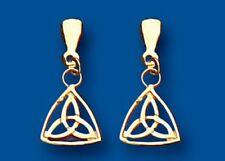 Solid Gold Celtic Earrings 9 Carat Yellow Drops Drop Ears 375 Hallmarked