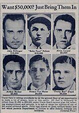 "1934 ""WANTED"" REPRINT- JOHN DILLINGER, ""PRETTY BOY"" FLOYD, ""BABY FACE"" NELSON"
