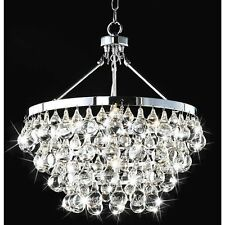 Modern Robert Abbey Style Bling Chrome & Crystal Chandelier Pendant