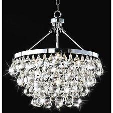 Modern Robert Abbey Style Bling Chrome & Crystal Chandelier Pendant
