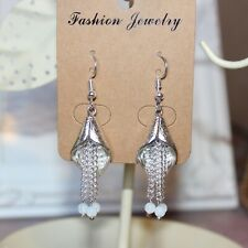 1920's/flapper Art Deco style Calla Lily and Opalite tassel earrings