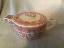 RED not blue willow pattern Teapot Royal China