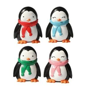 4 x Penguin Christmas Cake Decorations Display yule log cupcake toppers 50mm