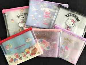 Hello Kitty KikiLala Cinnamoroll Clear Flat Zipper Pouch My Melody SANRIO