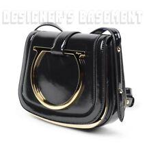 13725c072bf Salvatore Ferragamo Black Leather Gold Gancini Logo Sabine Bag Authent