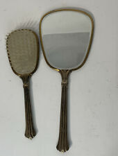 Vintage Hand Held Vanity Mirror and Hair Brush Set of 2 Floral Design Gold Tone
