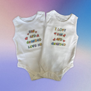Baby Vests. Set of 2. 'My Nan and Grandad Love Me' & 'I Love My Nan and Grandad'