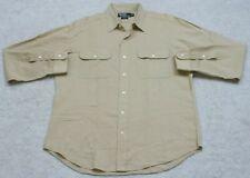 Ralph Lauren Polo Dress Shirt Long Sleeve Cotton Large Men's Top Beige 2 Pocket