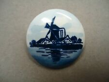 Vintage Hand Painted Porcelain Blue Delf Windmill Dutch Holland Brooch Pin