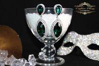 Brautschmuck, Hochzeit Ohrringe,Grosse Ohrhänger, XXL, Silber / Grün Kristall