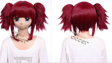 W-47 Black Butler Mey-rin Cosplay Perruque Wig Hitzefest Foncé Rouge Dk. Red 40 cm