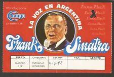 Frank Sinatra USA Singer 1981 Argentina Luna Park Ticket Stub
