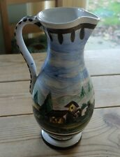 Vintage Italian pottery jug with painted landscape picture