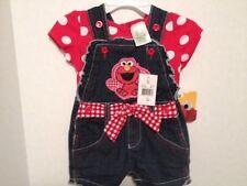 NEW Sesame Street Elmo 12-MO 2-Piece Denim Romper Red Polka Dot Shirt Super Cute