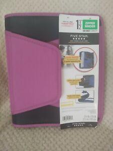 Five Star Zipper Binder New Purple & Black