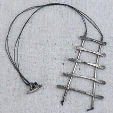 Artisanal Hand Crafted Sterling Silver Modernist Studio Ladder Necklace Pendant