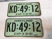 1961 Maryland license plate pair KD 49 12  Vintage Rat Rod Garage