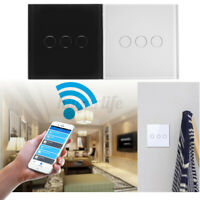 3 Gang WiFi Smart Wall Touch Light Switch Glass Panel For Amazon Alexa Remote