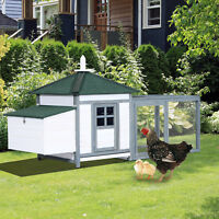 77'' Large Chicken Coop Hen Cage Wooden House backyard  Patio w/ Nestbox Run